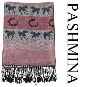 Pashmina Equestrian Pink and Gray Horse Silk Scarf